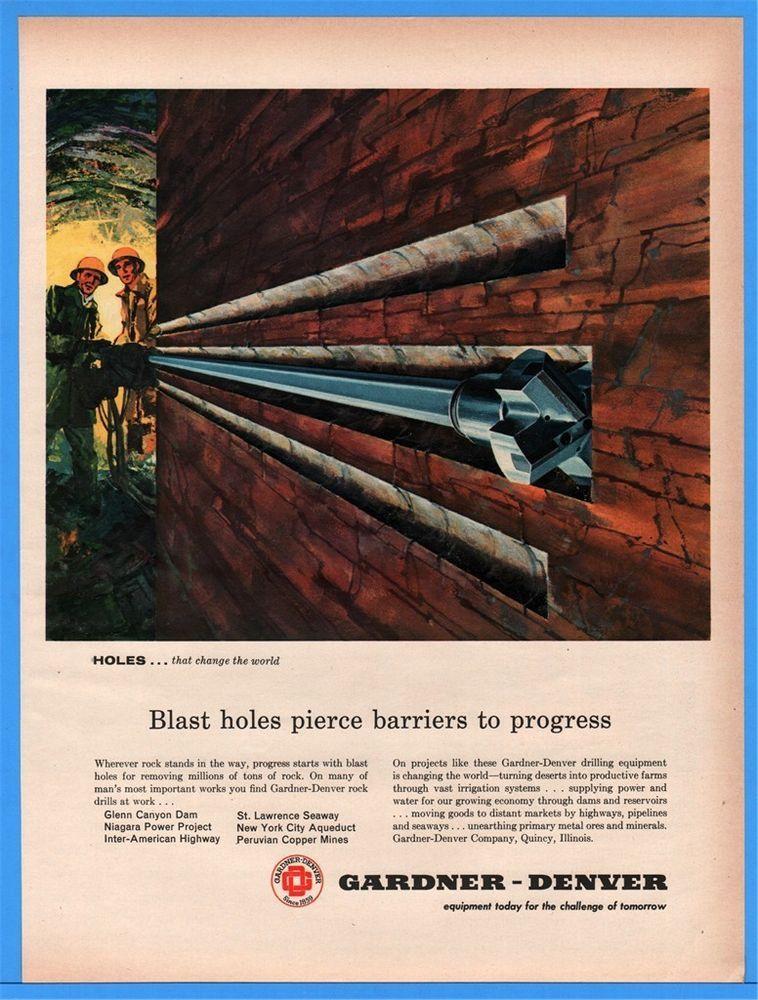 1960 Gardner Denver Quincy IL Blast Holes Glenn Canyon Dam