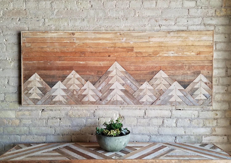 Reclaimed wood wall art wall decor wood art queen headboard
