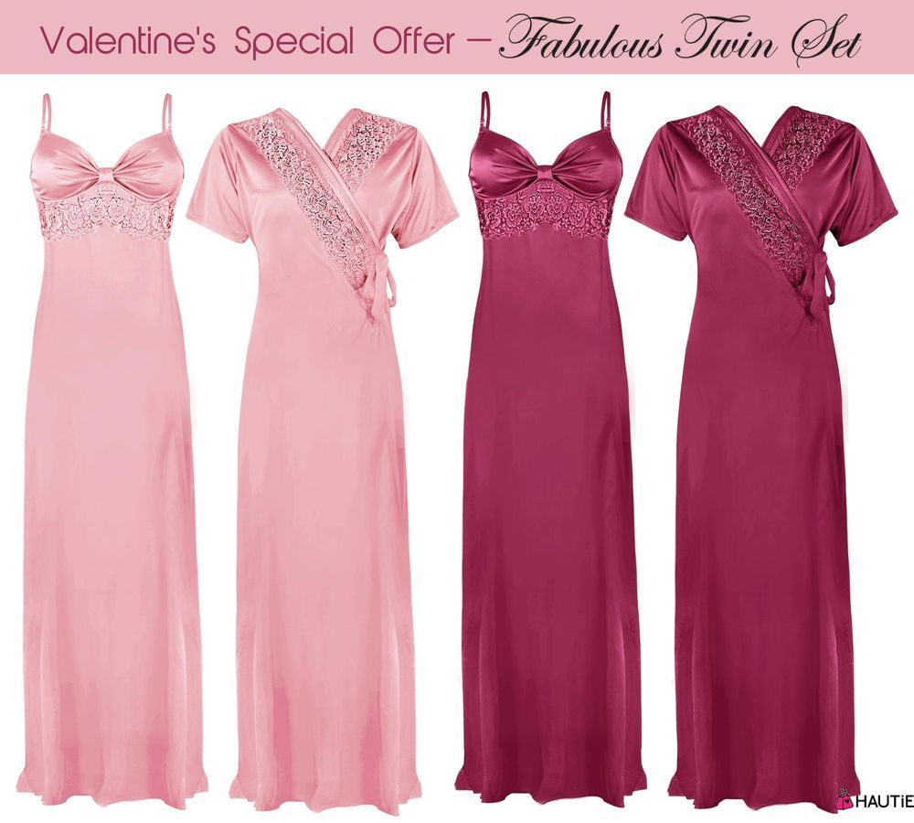 LADIES SATIN LACE LONG NIGHTDRESS WOMENS NIGHTY CHEMISE EMBROIDERY DETAILED