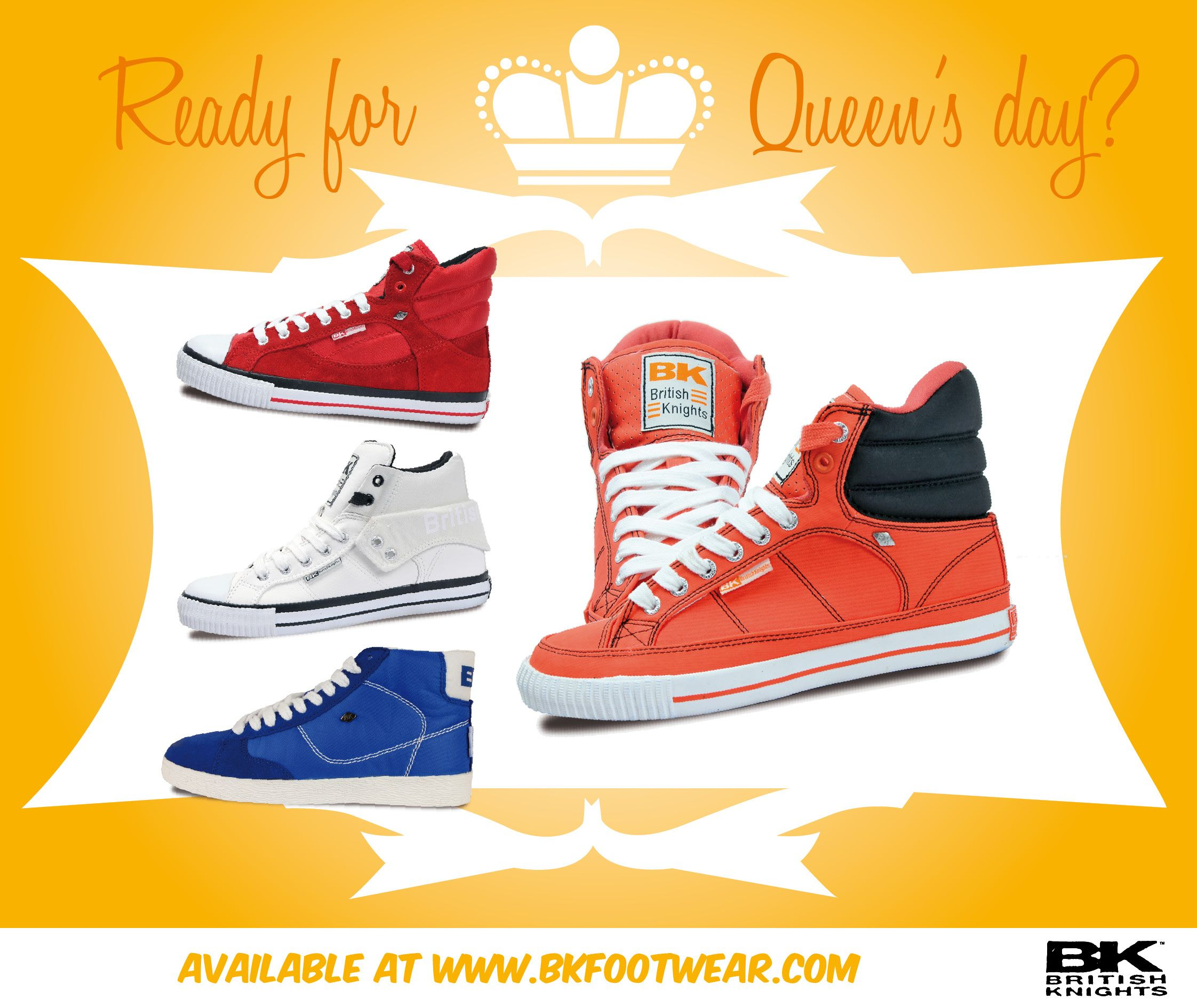 """British Knights goes Queen's day!    On April 30, the Netherlands will turn into one big ocean of orange and red-white-blue as they celebrate """"Queen's Day"""" Complete your Queen's Day outfit with these cool matching BK-sneakers!"""