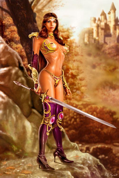 Fantasy Art Print Sci Fi Art Pin Up Nude Warrior Princess