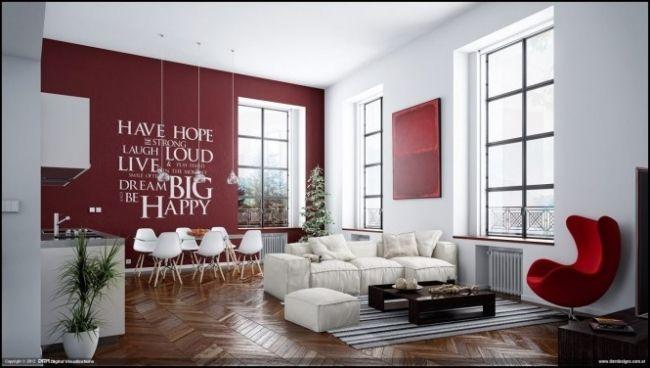 Farbgestaltung Wohnzimmer Rot weiß Wandtattoo Parkett-Sessel ...