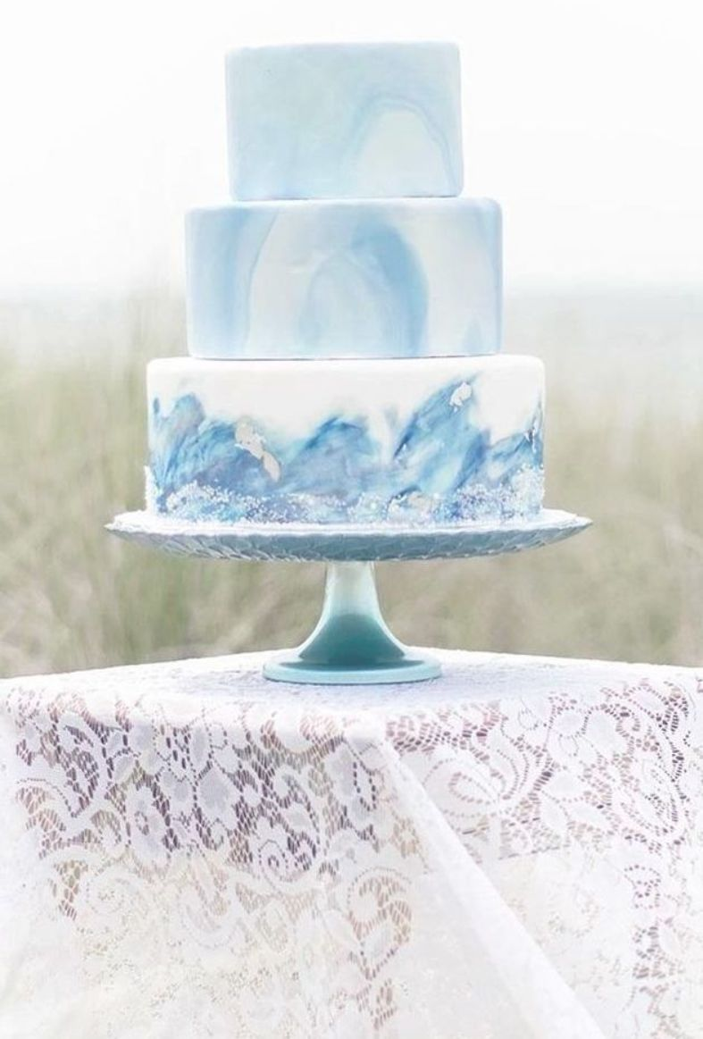 Watercolor Wedding Cakes Blue Cake Withlove Cupcakesandcakes