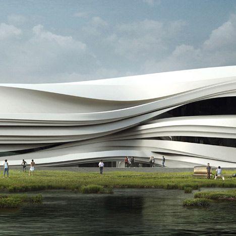 Stries Dans L Architecture Yinchuan Art Museum Par Waa Pres De