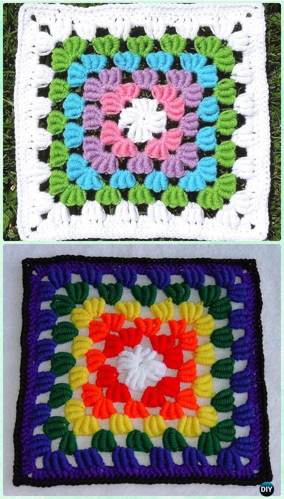 Crochet Bullion Stitch Square Free Pattern Crochet Bullion Stitch