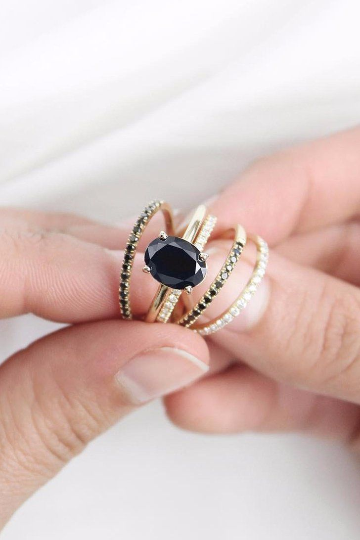 20 Black Stone Engagement Rings to Go With Your Soul | Black stone ...