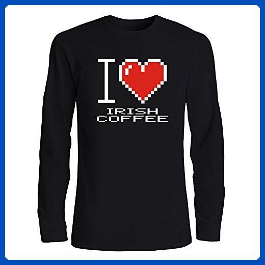 Idakoos - I love Irish Coffee pixelated - Drinks - Long Sleeve T-Shirt - Food and drink shirts (*Amazon Partner-Link)
