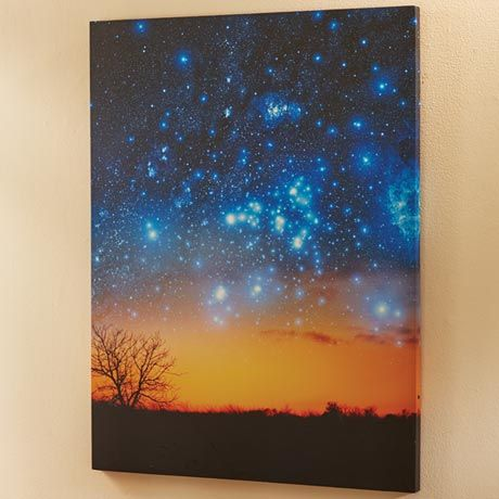Night Sky Lighted Canvas - Large Photo of Sunset - Six LED