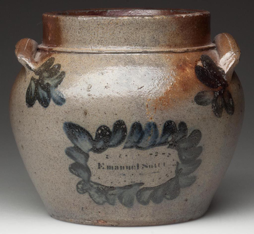 """Signed """"Emanuel Suter"""" Rockingham Co., Shenandoah Valley of Virginia decorated salt-glazed stoneware honey or sugar pot. Probably produced during his apprenticeship with John D. Heatwole at Dry River. 1850-1860. Sold June 22, 2013 for $86,250 - a new record for Virginia pottery."""