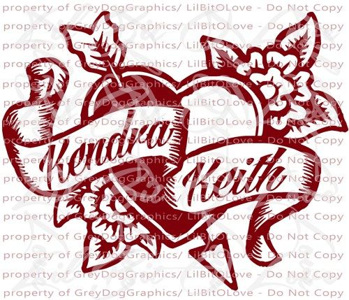 Personalized Tattoo Heart Vinyl Decal YOUR NAMES Custom Sticker - Custom auto decal stickers