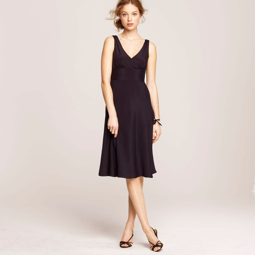 J Crew A Line Brown Dress 4 Silk Tricotine Coctail Lined