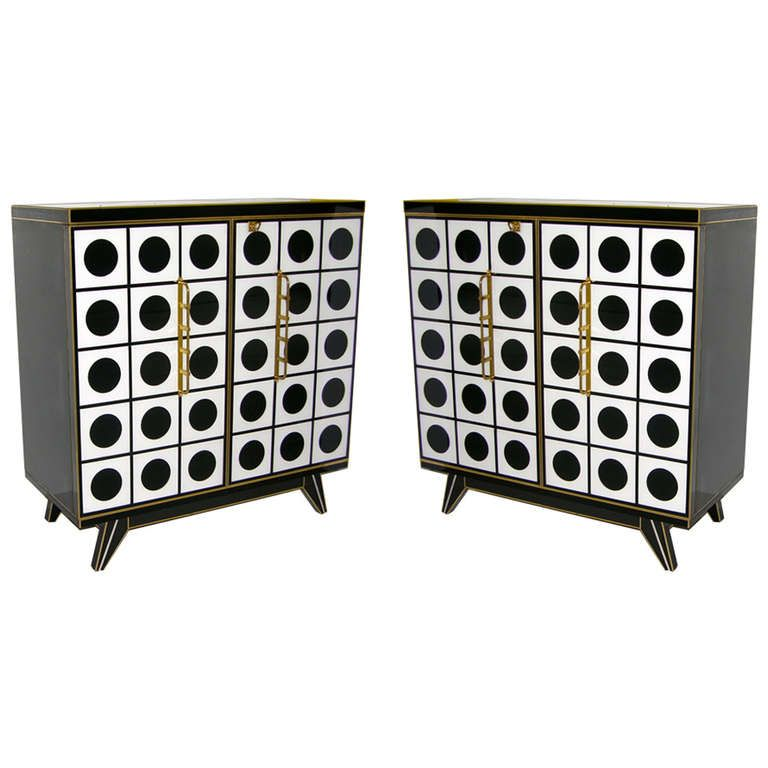 outstanding hallway cabinets furniture | Outstanding 1960s Italian Pair of Black and White Murano ...