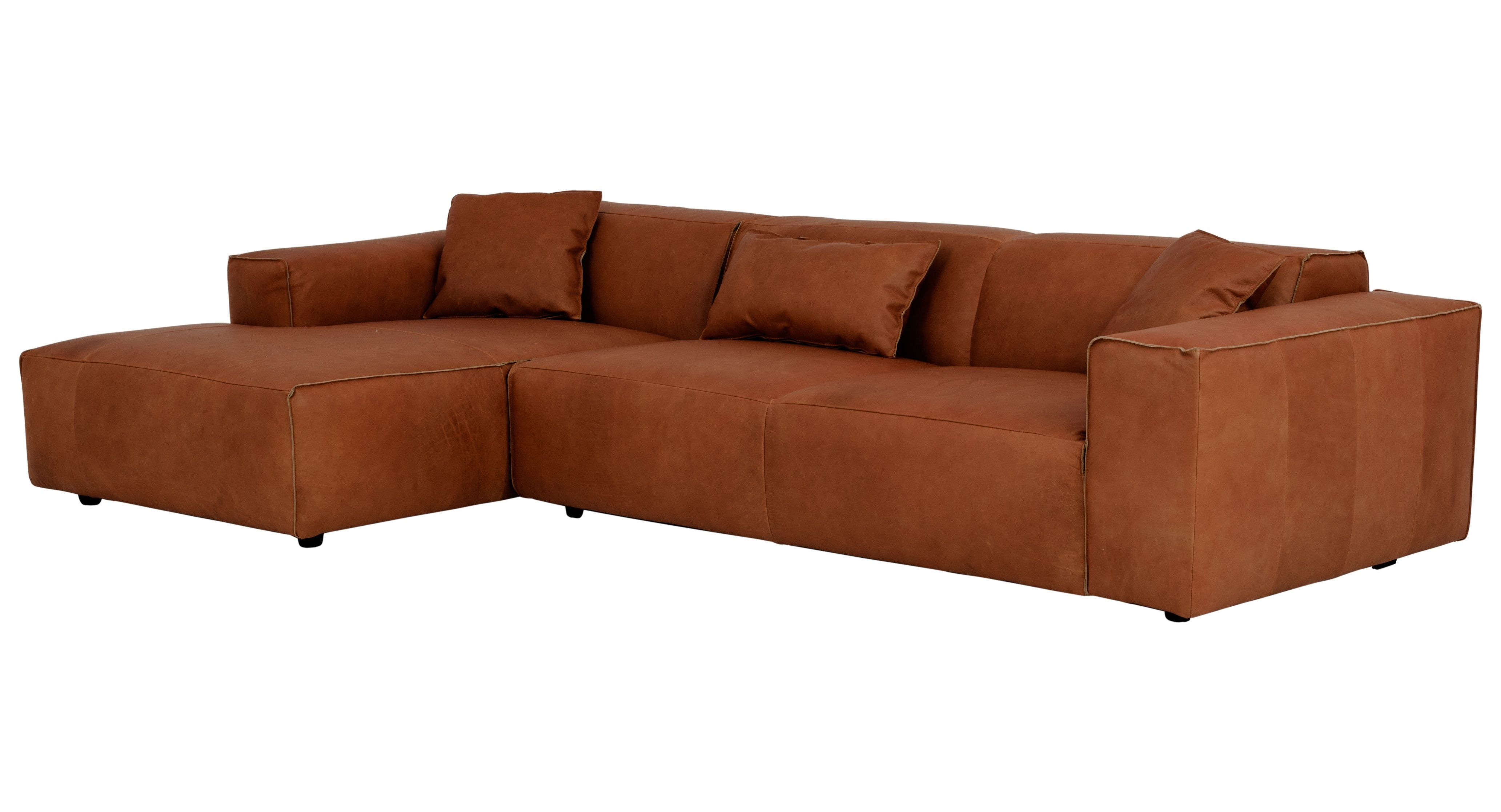 Cognac farbenes Ledersofa For the Home