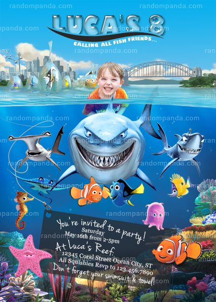 sharks invitation pool forward personalize finding nemo invitation