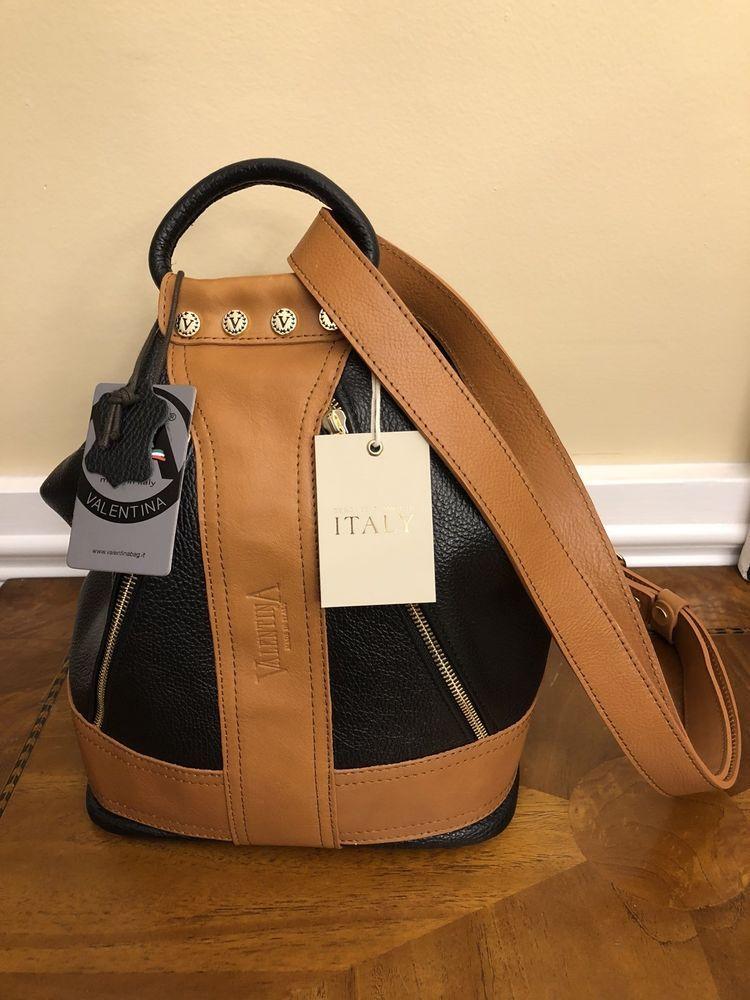 Nwt Valentina Genuine Leather Black Tan Sling Shoulder Purse Bucket Handbag Bucketbag