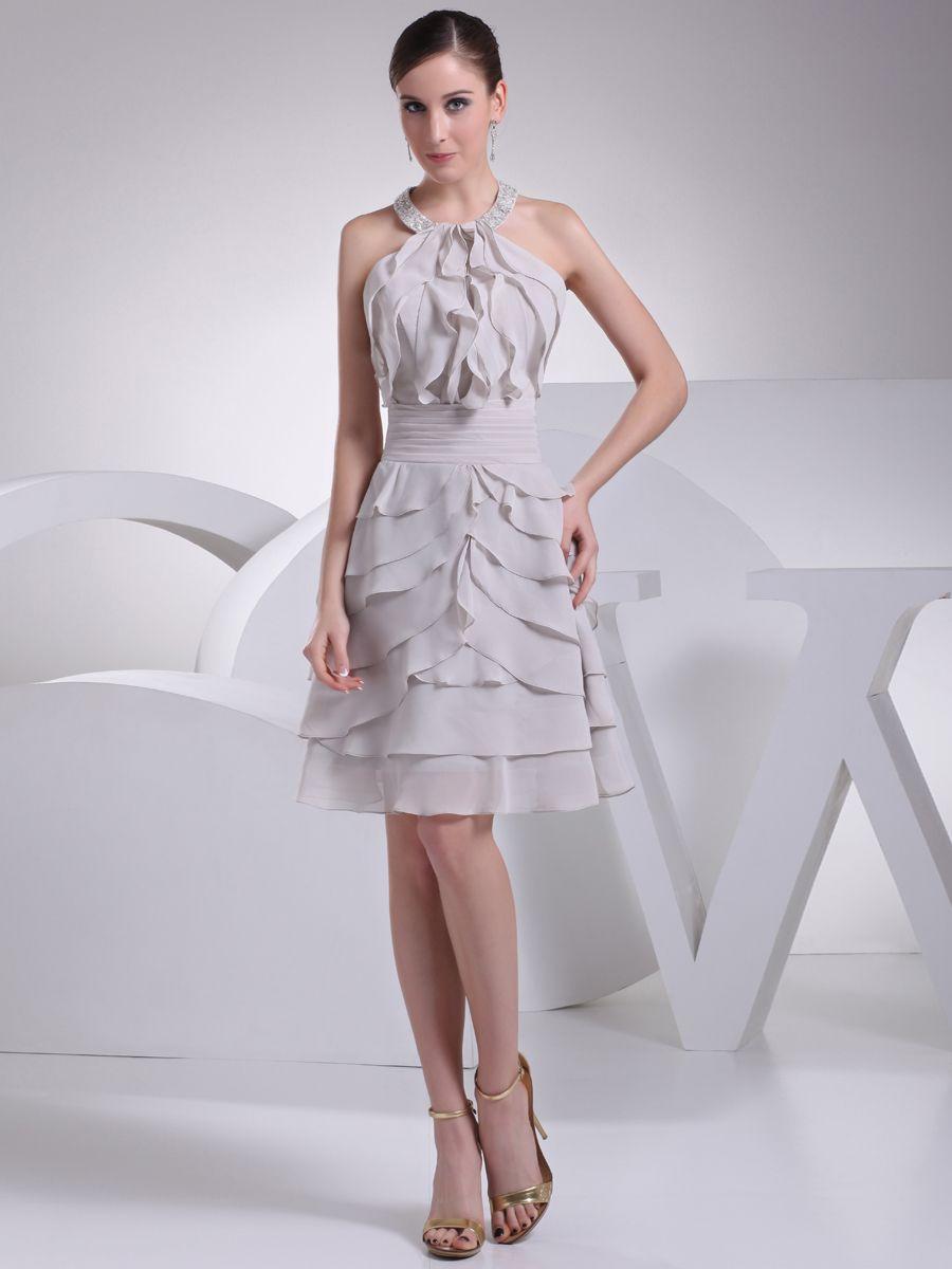 Name brand wedding dresses  Halter Straps Ruffled Chiffon Graduation Dress Brands