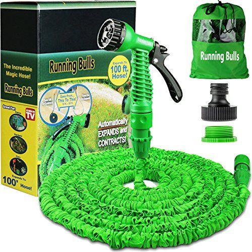 100ft expanding garden hose | garden hose nozzle & holder ...