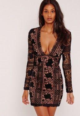 Lace Long Sleeve Plunge Bodycon Dress Black Plunge Bodycon Dress Long Sleeve Plunge Dress Long Sleeve Lace Dress