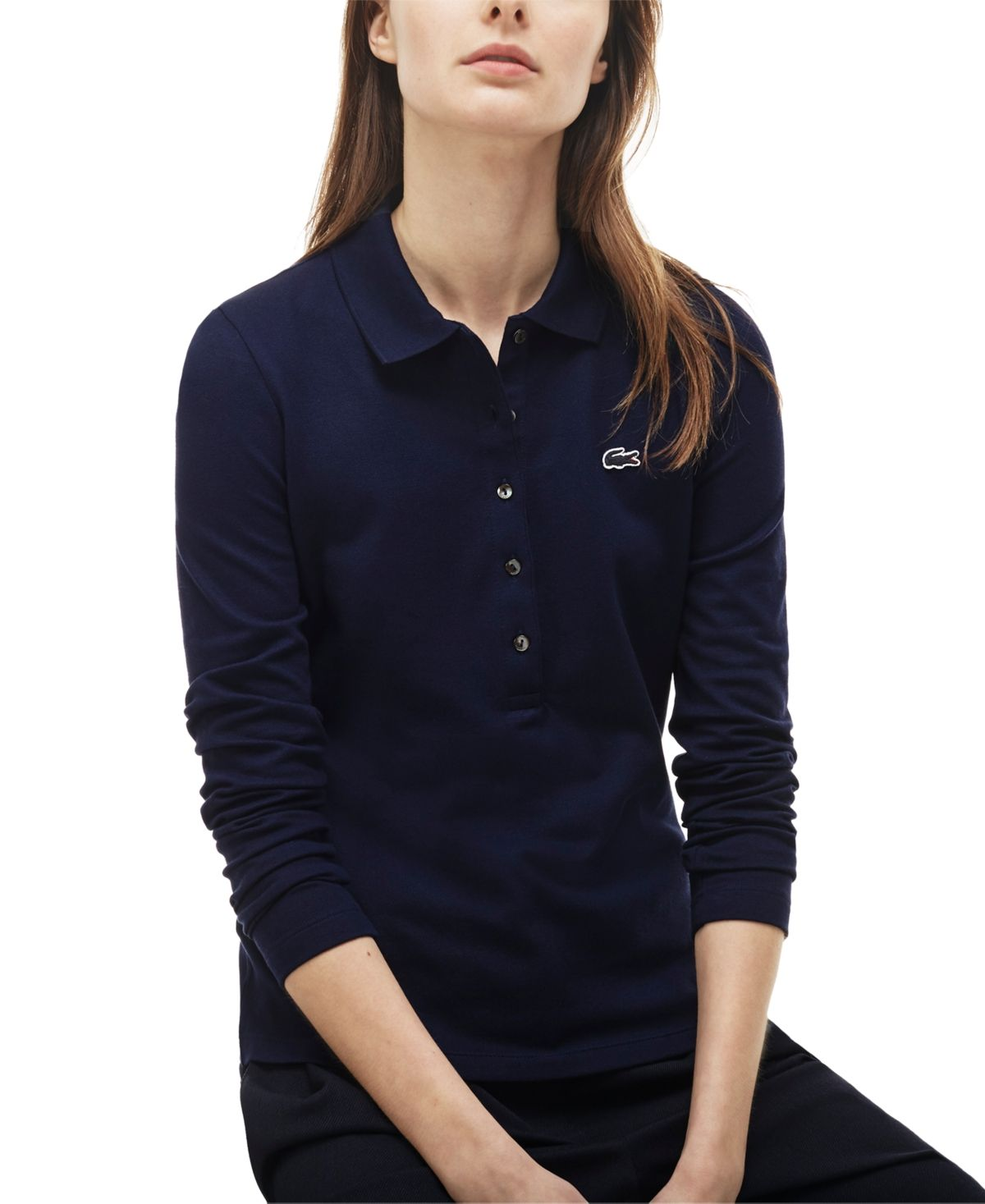 Lacoste Long-Sleeve Slim-Fit Stretch Pique Polo Shirt - Navy Blue ...