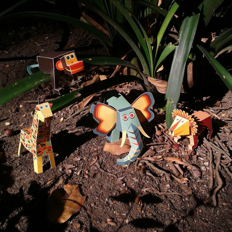 Jungle Animals Paper Toys.