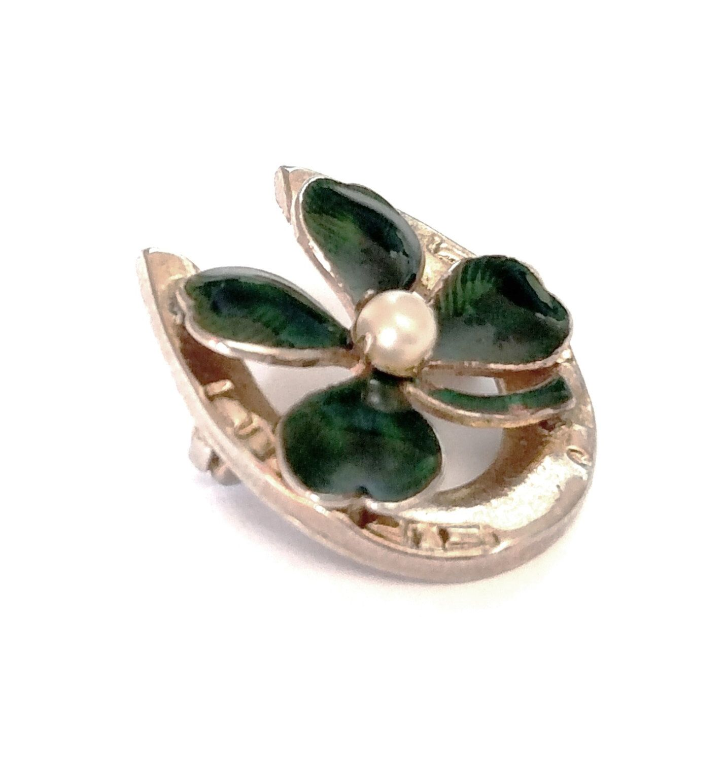Green lucky shamrock necklace four leaf clover charm emerald green - Good Luck Four Leaf Clover In Horse Shoe Brooch Pin Green Guilloche Enamel Gold Tone Metal Miniature Pearl Lucky Charm Shamrock Gift Vintage
