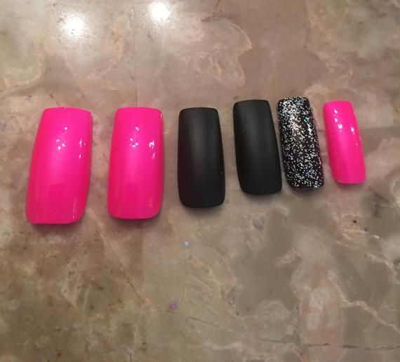 Neon Pink Black Matte Glitter Long False Coffin Nails   Etsy