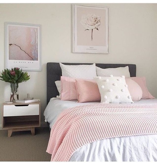 Blush Pink White And Grey Pretty Bedroom Via Ivoryandnoir: Pin By Maria Zampella On Bedrooms