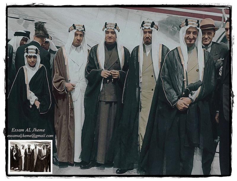 الملك فيصل بن عبدالعزيز و الامير محمد بن عبدالعزيز و الملك فهد بن