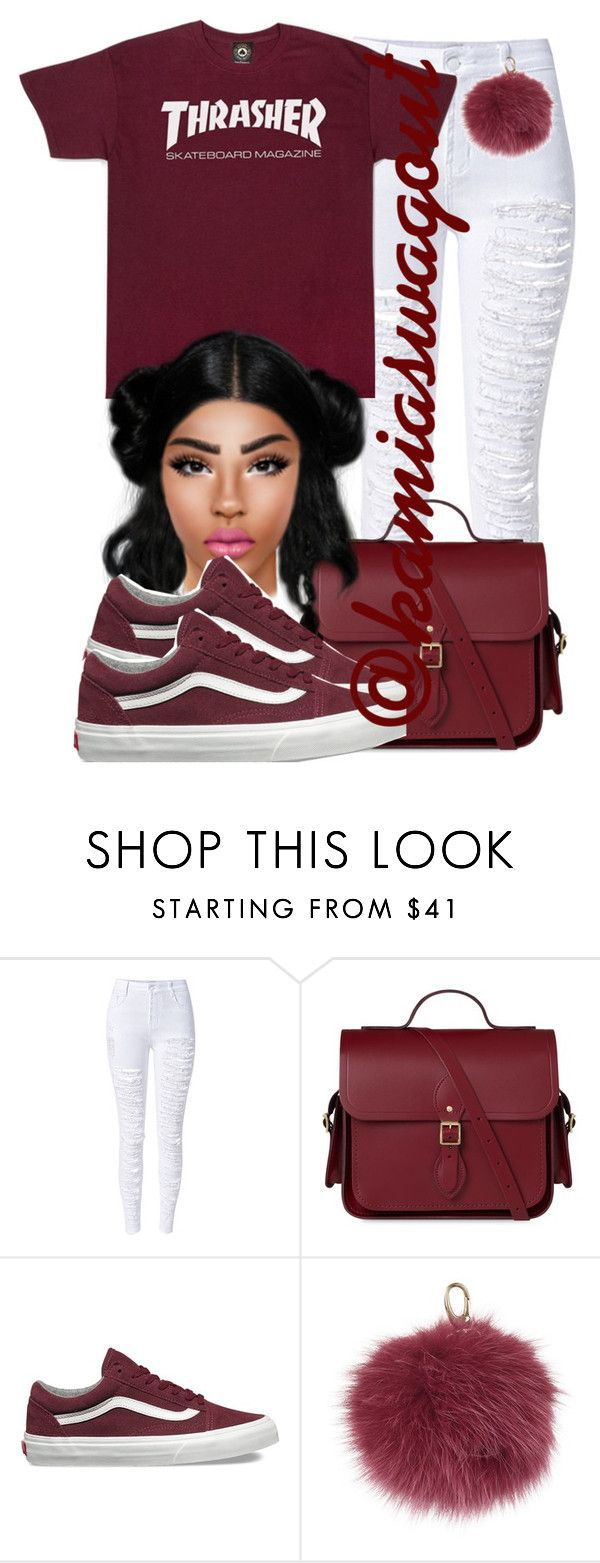 """""""Thrasher"""" by kamiaswagout on Polyvore featuring WithChic, The Cambridge Satchel Company, Vans and Harrods"""
