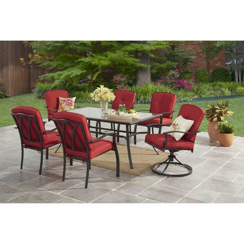 Red 7pc Patio Garden Dining Furniture Set Glass Table Swivel Chair