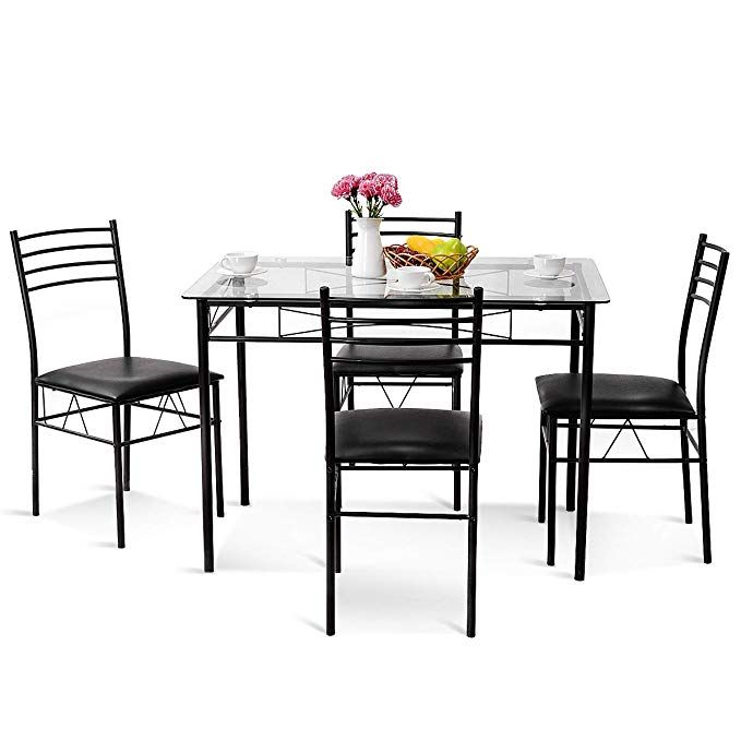 77221b92f7036 Tangkula Dining Table Set 5 Piece Home Kitchen Dining Room Tempered Glass  Top Table and Chairs