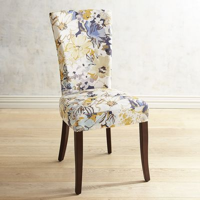 Adelaide Blue Gold Floral Dining Chair With Espresso Wood Dining Chairs White Dining Room Chairs Dining Room Chairs