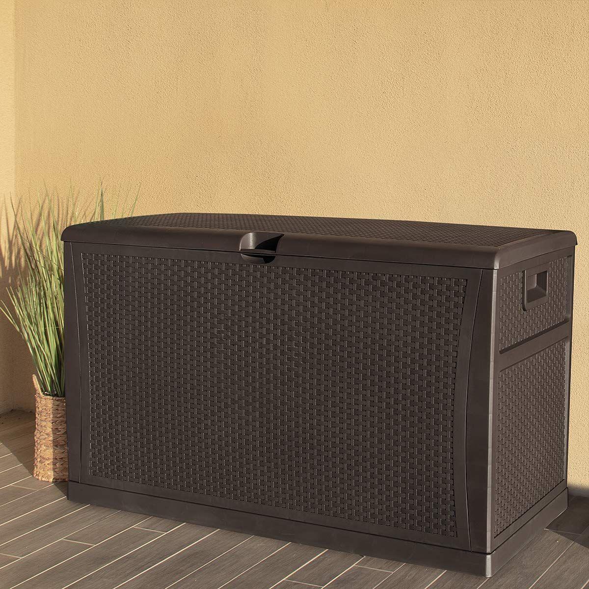 brown large outdoor deck storage box