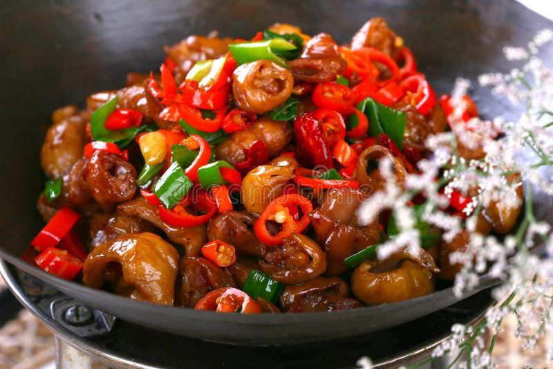 Delicious chinese food fried dish hot pepper sau sage