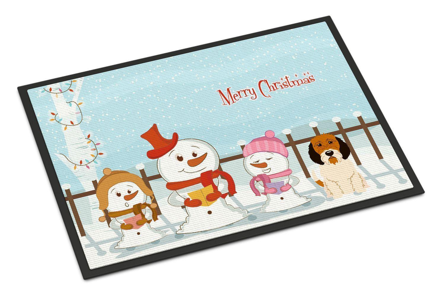 Merry Christmas Carolers Petit Basset Griffon Veenden Indoor or Outdoor Mat 18x27 BB2410MAT