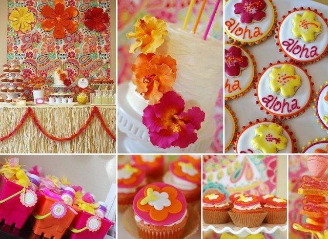 kindergeburtstag feiern deko hawaii orange fuchsie kindergeburtstag pinterest. Black Bedroom Furniture Sets. Home Design Ideas