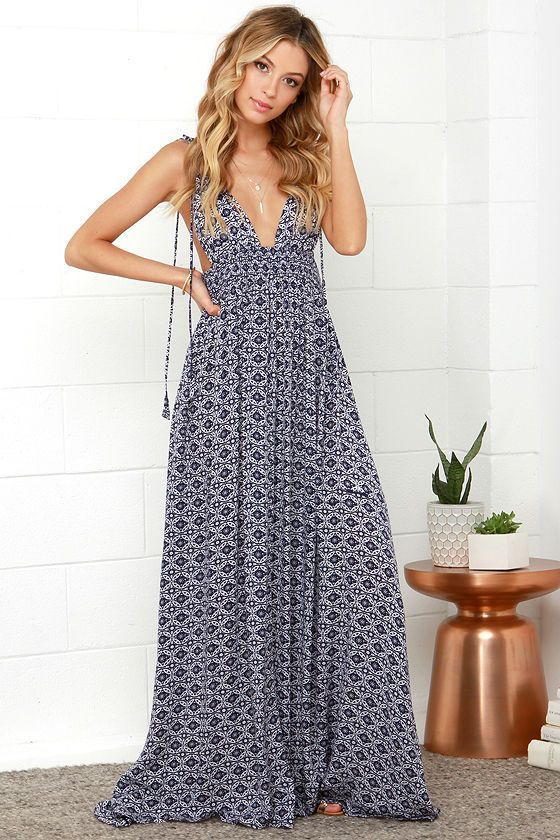 3a2182f4c18 The Field Day Navy Blue Print Maxi Dress from Lulus.com is perfect for a