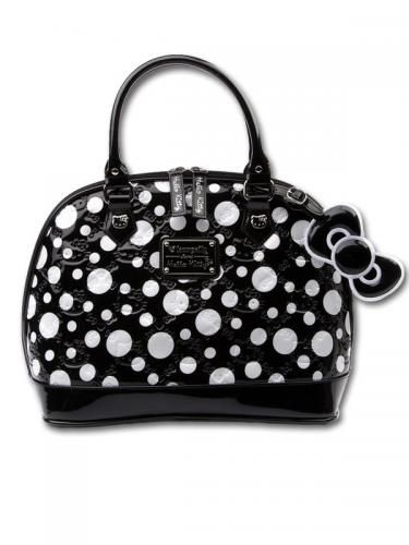 69f006b9463a Hello Kitty Loungefly Patent Embossed Bag with Black White Spots ...