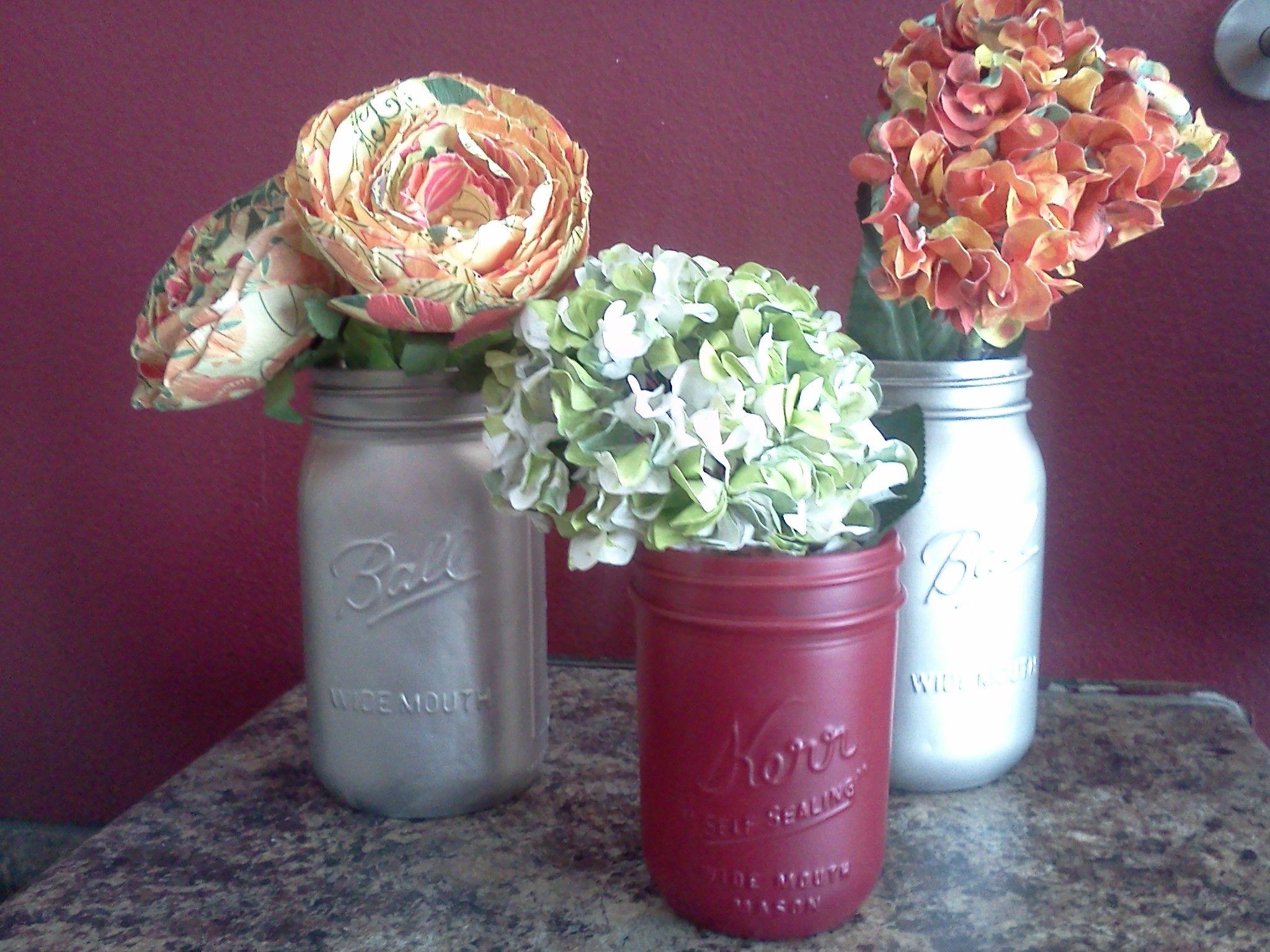 Mason Jar and spray paint!  Perfect!