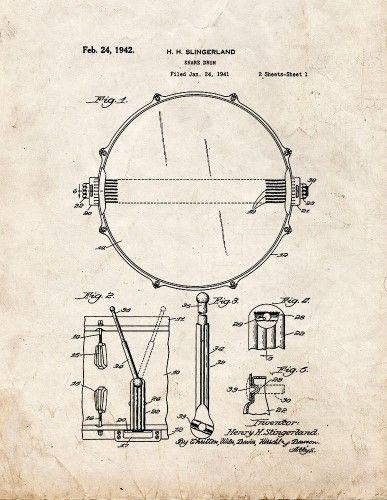 Snare Drum Patent Print Art Poster Old Look (16u0027 x 20u0027) Products - copy coffee grinder blueprint