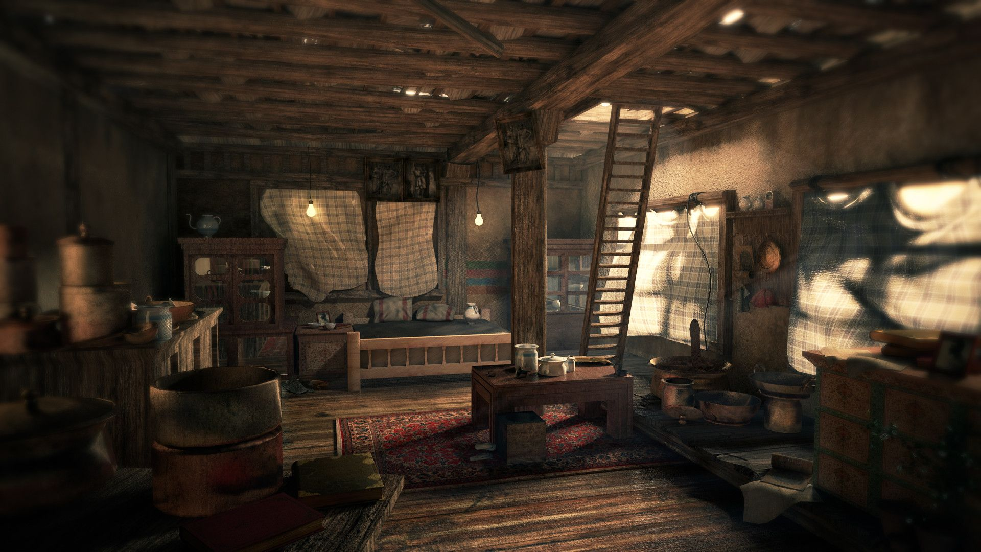 Uncharted room interior scenes design pinterest game for Fallout 4 bedroom ideas