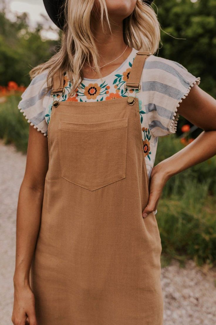 Summer Outfit Ideas - Summer outfits women, Fashion, Trendy outfits, Clothes, Clothes for women, Overall dress - Summer Outfit Ideas   ROOLEE Summer Short Overall Dress   Short Sleeve Embroidered Top   Cute Casual Date Night Ideas for Women   Modest Summer Outfit Inspiration   ROOLEE