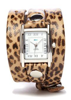 LA MER COLLECTIONS Brown/Silver Leopard Print Triple Wrap Watch