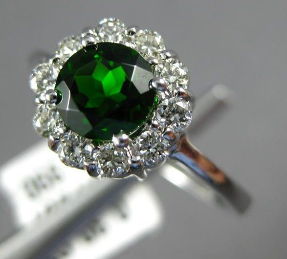 ESTATE 1.05CT DIAMOND & AAA GREEN 14K WHITE GOLD