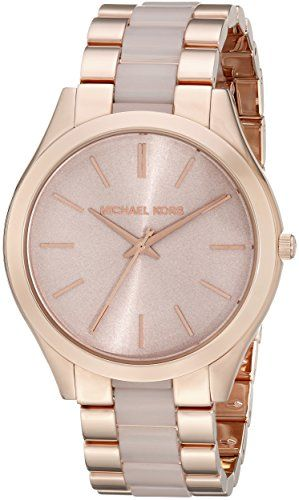 8fc0adfed765b Michael Kors Womens MK4294 Slim Runway Rose GoldTone Stainless Steel Watch  -- Check this awesome product by going to the link at the image.