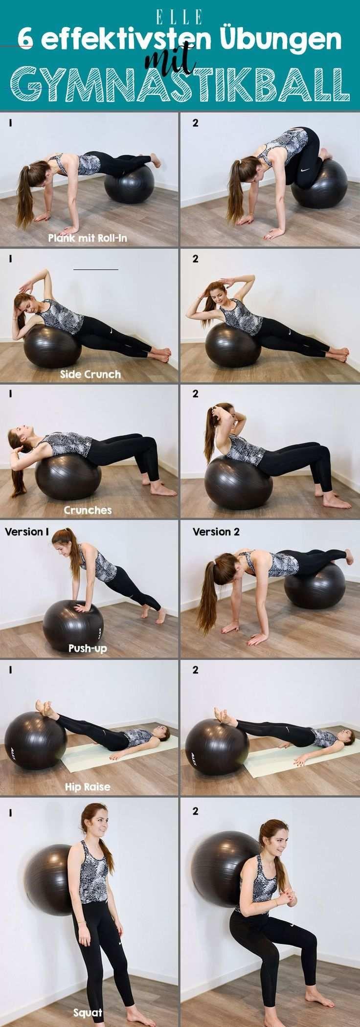 Das Workout mit einem Gymnastikball schult Koordination, Gleichgewicht und sorgt für eine gute Haltu...