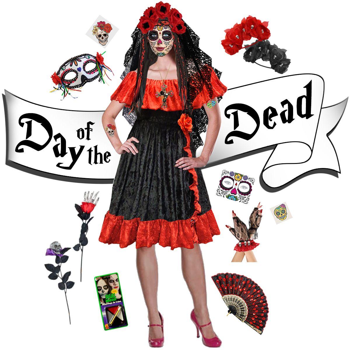 cd18a198b394 Sexy Day of the Dead - Dia de los Muertos Plus Size Halloween Costume Dress  & Accessory Kits XL 1x 2x 3x 4x 5x 6x 7x 8x