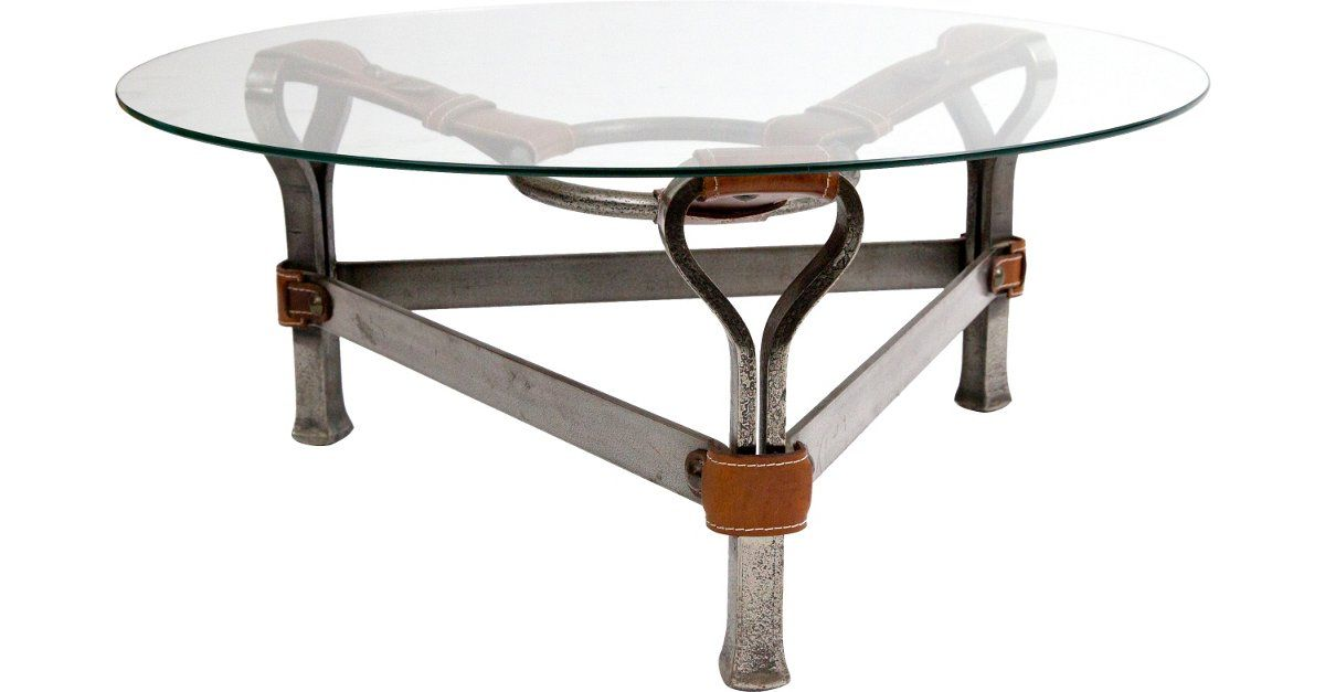 Equestrian Iron & Leather Coffee Table