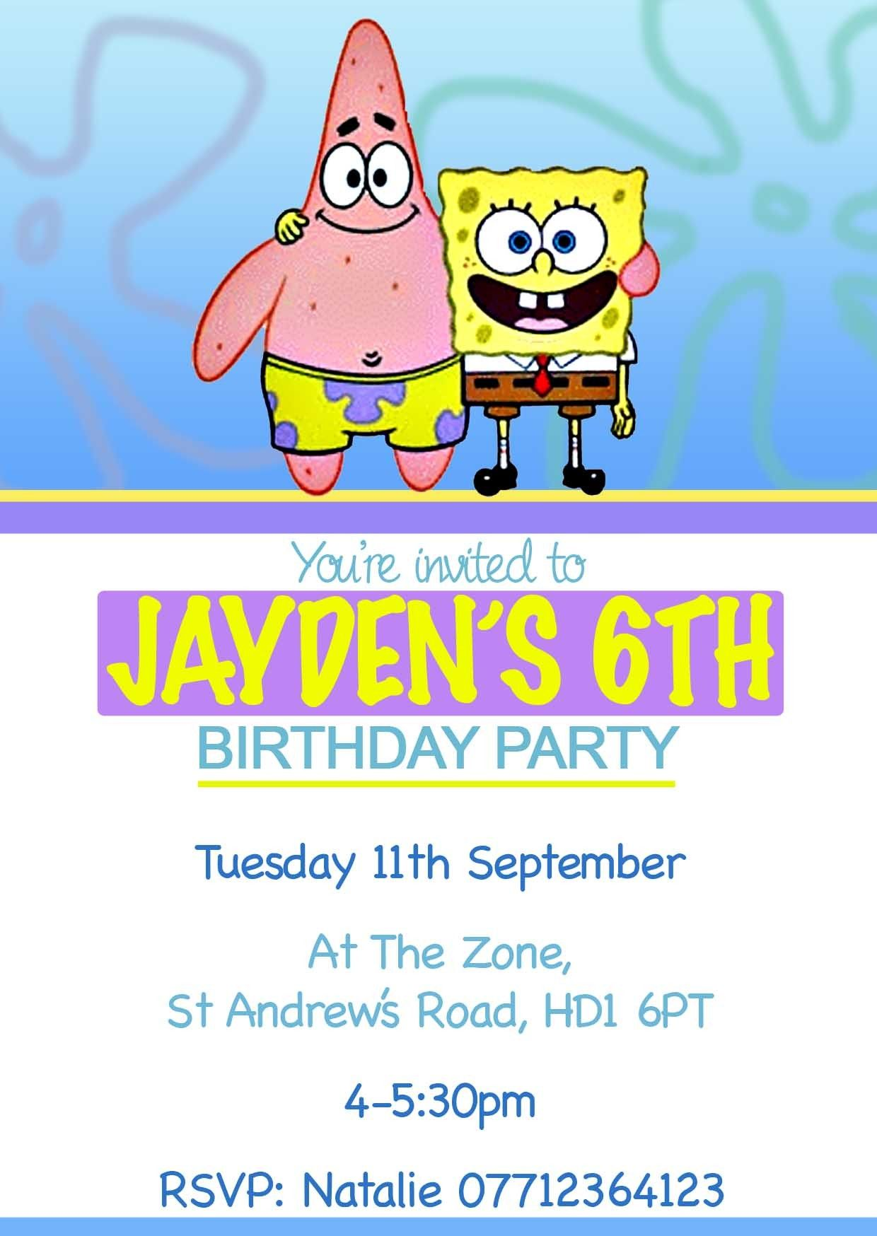 10 Personalised Spongebob Patrick Birthday Party Invitations 5 00