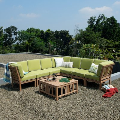 Bay Isle Home Scot Teak Patio Sectional With Cushions